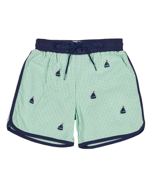 Seersucker Swim Trunks with Embroidered Sailboats - Florence Eiseman