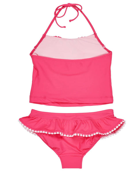 Coral Ruffle Tankini with Pom Poms - Florence Eiseman