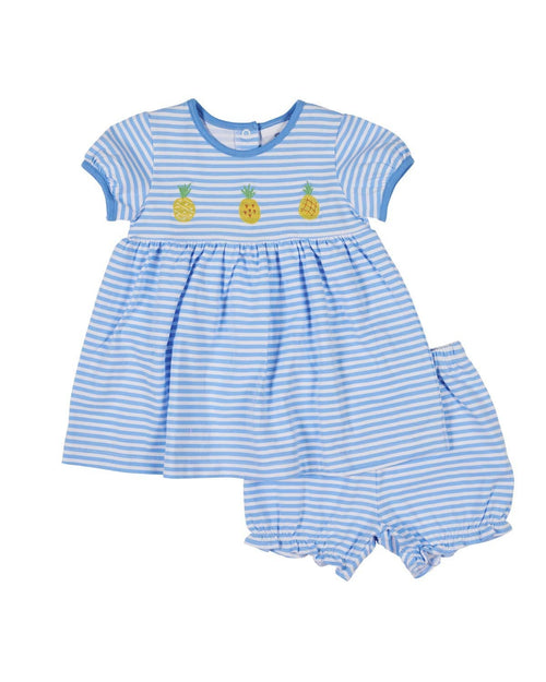 Blue Stripe Dress and Bloomer with Pineapples - Florence Eiseman