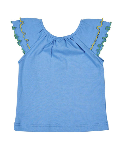 Elastic Neck Top with Lettuce Edged Sleeve Ruffles - Florence Eiseman