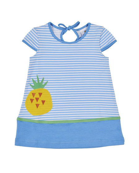 Blue Stripe Shorts with Pineapples
