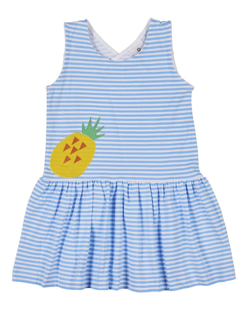 Blue Stripe Knit Sundress with Appliqued Pineapple - Florence Eiseman