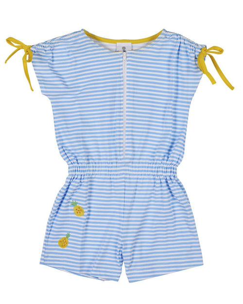 Blue Stripe Romper with Pineapples - Florence Eiseman