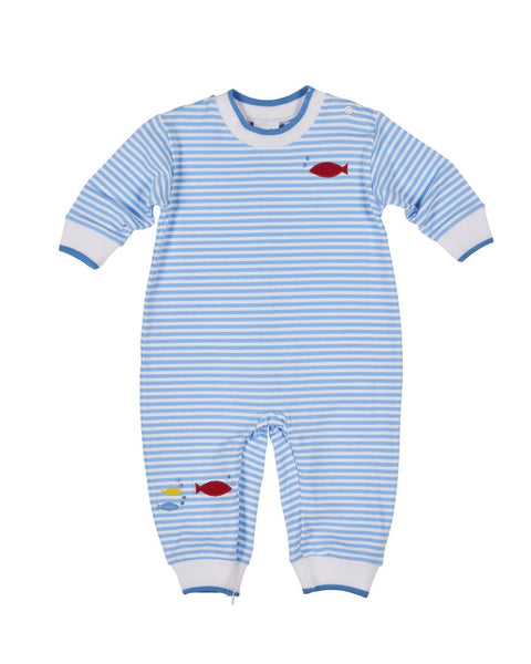 Stripe Boys Longall with Appliqued Fish - Florence Eiseman