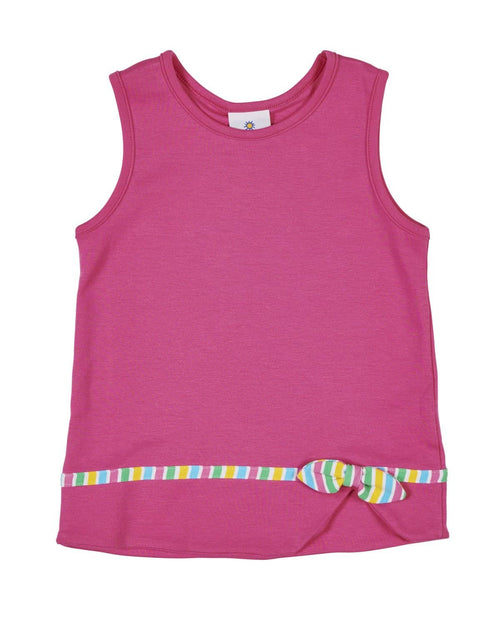 Sleeveless Top with Stripe Band and Bow - Florence Eiseman