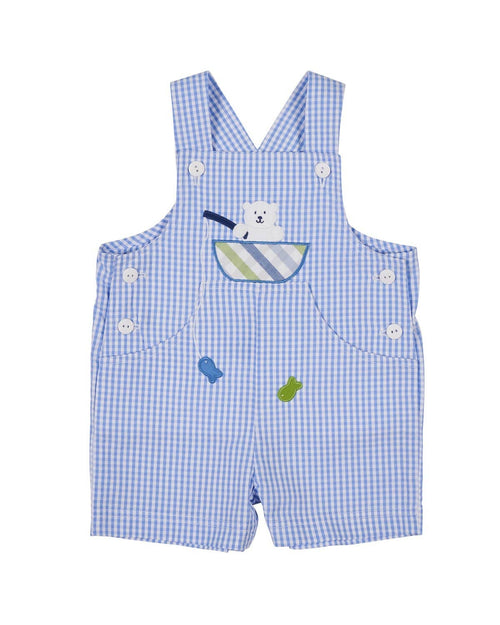 Seersucker Check Boys Shortall with Fishing Bear - Florence Eiseman
