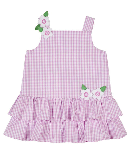 Pink Check Seersucker Dress with Appliqued Flowers - Florence Eiseman