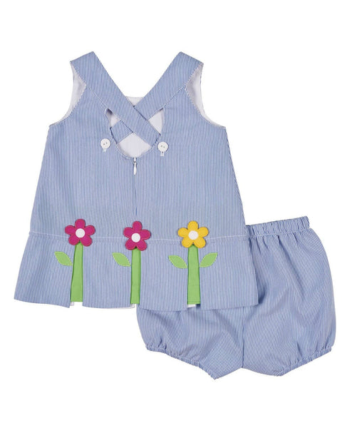 Girls Dress and Bloomer with Pop-Up Flowers - Florence Eiseman