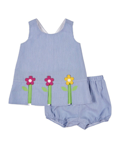Girls Terry Cover-Up with Pink Flower Applique