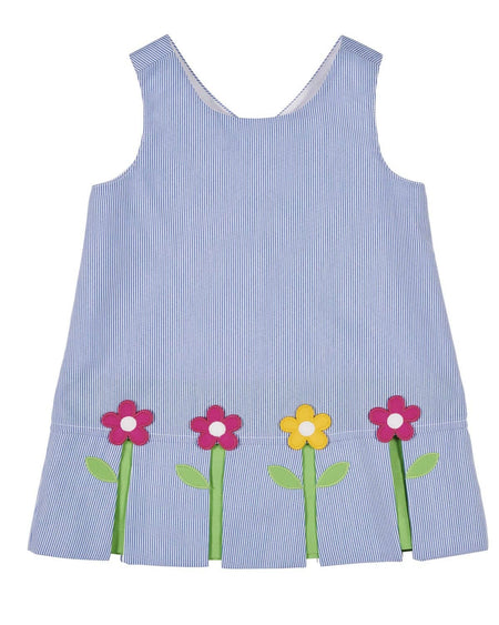 Side Button Dress with Appliqued Flowers