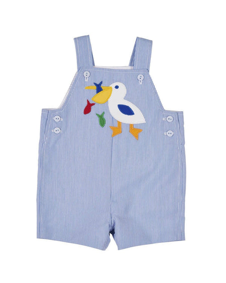 Blue Seersucker Romper with Applique Tugboat