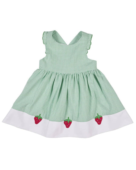 Jade Seersucker Dress and Bloomer with Appliqued Flowers