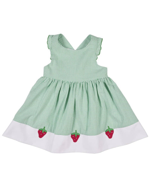 5ebfe6f4d50d Front. Green Check Seersucker Dress with Strawberries