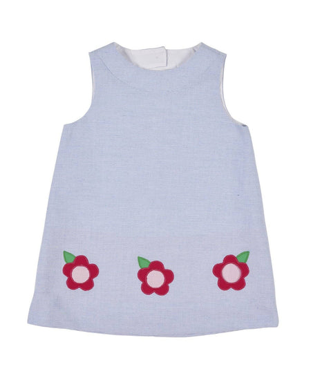 White Wale Pique Dress with Appliqued Flowers