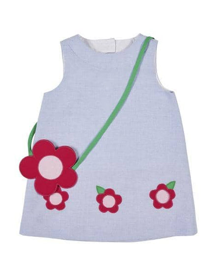 Girls Pink Dot Swimsuit with Appliqued Flower