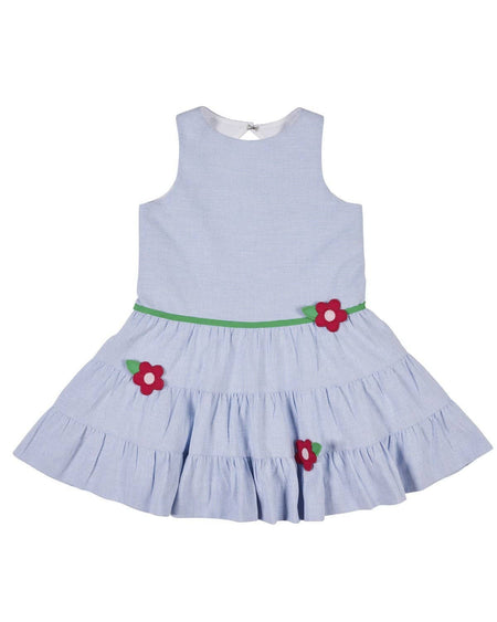 Bright Seersucker Dress with Applique Flowers