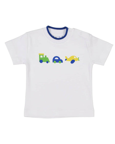 Multi Tipped T-Shirt with Boat and Fish Appliques