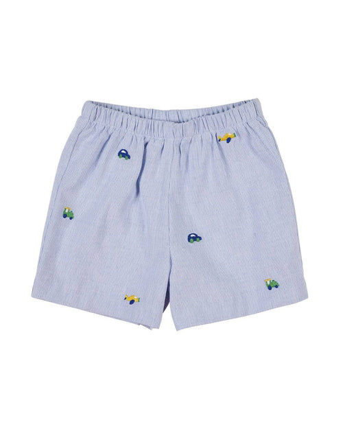 Blue Cording Short with Vehicle Embroidery - Florence Eiseman
