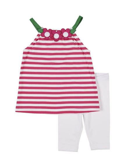 Girls Seersucker Stripe Swimsuit with Tulips