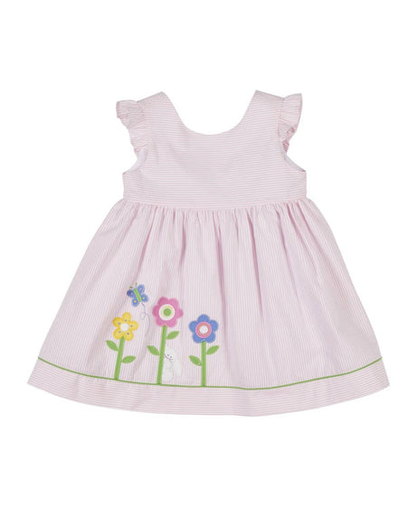 Pink Pique Dress with Applique Flowers