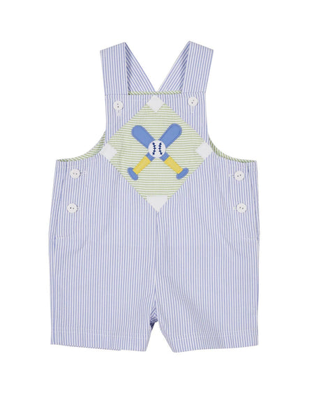 Green Seersucker Check Boys Giraffe Shortall