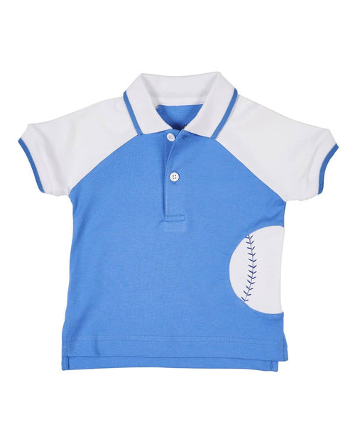 Blue and White Knit Baseball Polo - Florence Eiseman