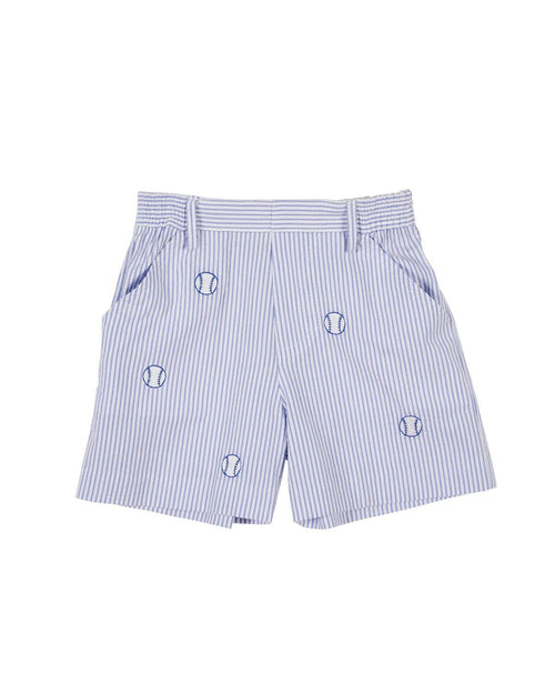 Blue Seersucker Embroidered Baseball Shorts - Florence Eiseman