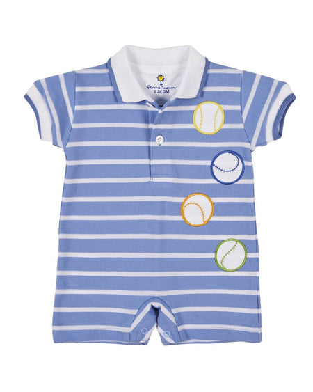 Blue and White Stripe Ottoman Button-On Suit