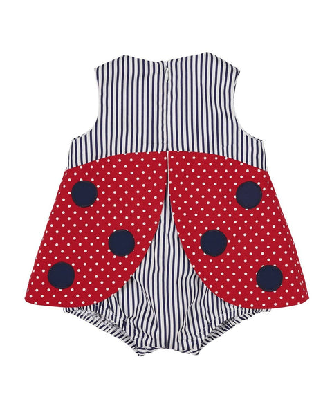Red and Navy Ladybug Romper - Florence Eiseman