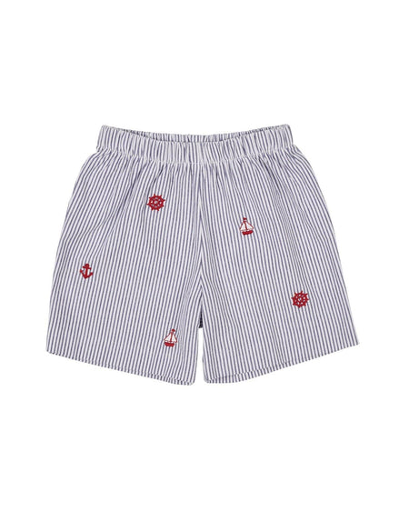 Boys Seersucker Swim Trunk with Crab Applique