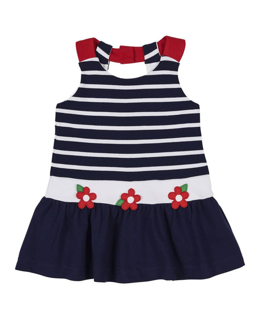 Navy Stripe Knit Pique Dress with Flowers - Florence Eiseman