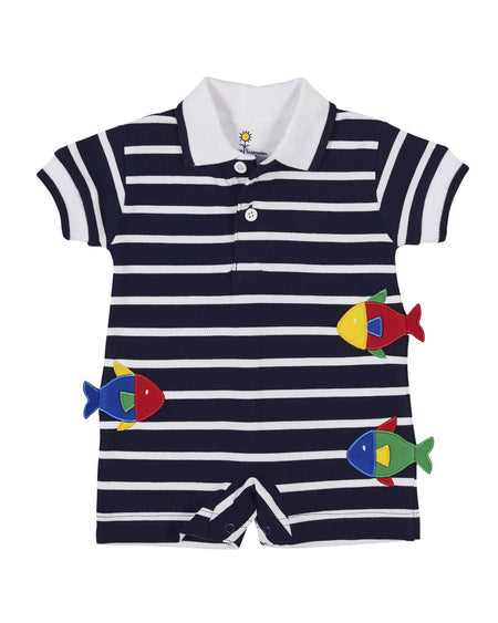 Boys Stripe T Shirt with Sailboat and Navy Shorts