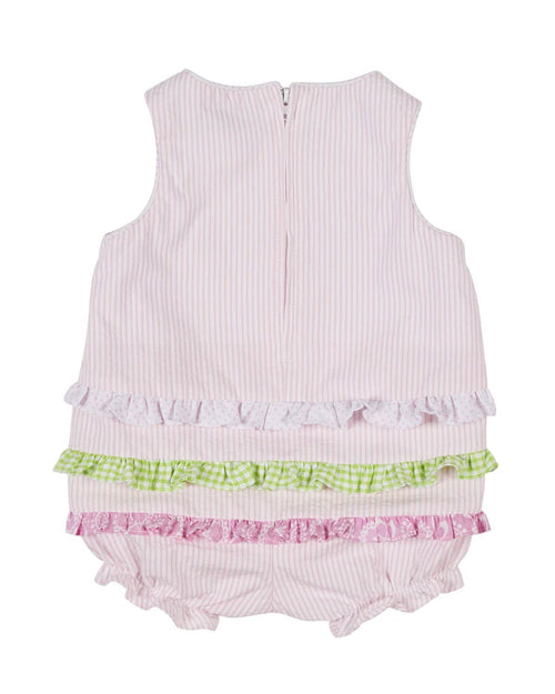 Pink Seersucker Romper with Flower Patches - Florence Eiseman