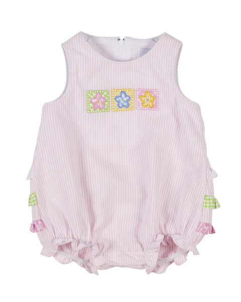 be2c1ee60 Pink Seersucker Romper with Flower Patches – Florence Eiseman