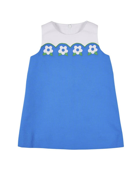 Blue Pique Dress with Scalloped Yoke and Flowers - Florence Eiseman