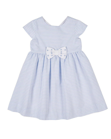 Blue Stripe Dress with Appliqued Flowers