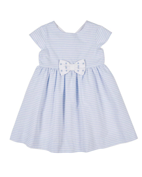 Blue Stripe Dress with Bows - Florence Eiseman