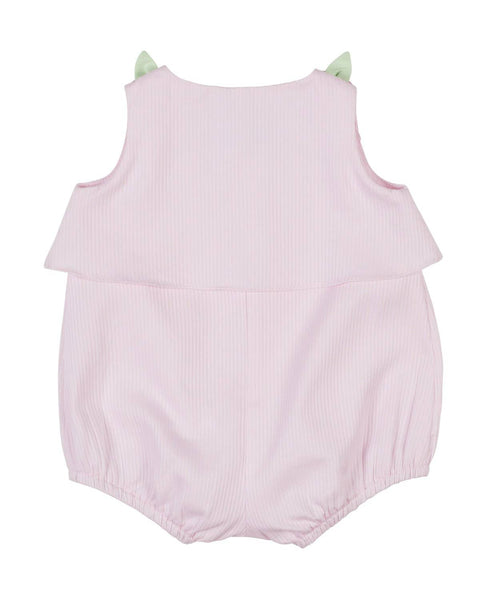 Girls Romper with Flower Button Shoulders - Florence Eiseman