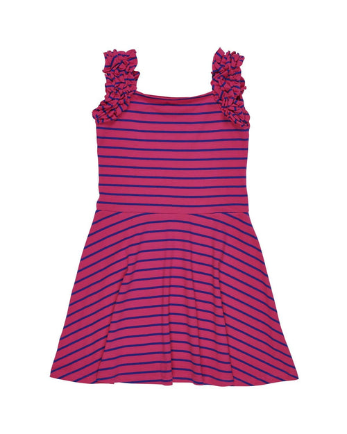 Stripe Knit Dress with Ruffle Straps - Florence Eiseman