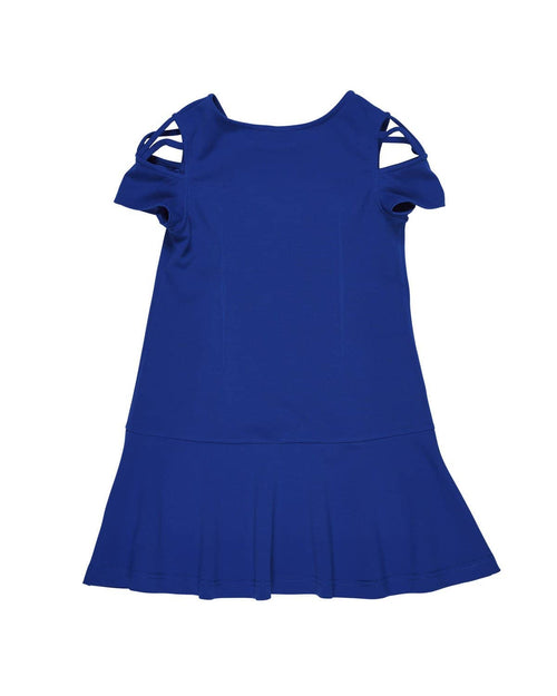 Blue Crepe Knit Dress with Sleeve Detail - Florence Eiseman