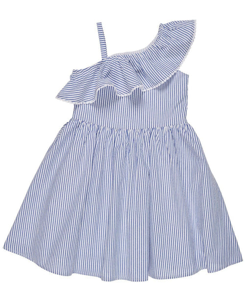 Blue Seersucker Dress with Asymmetrical Ruffle - Florence Eiseman