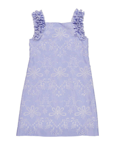 Blue Dress with Tiered Skirt and Appliqued Flowers