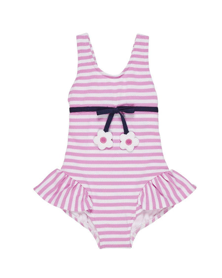 Navy Stripe Knit Pique Fish Romper