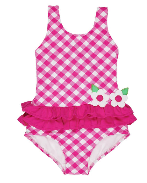 Fuchsia Check Swimsuit with Flowers - Florence Eiseman