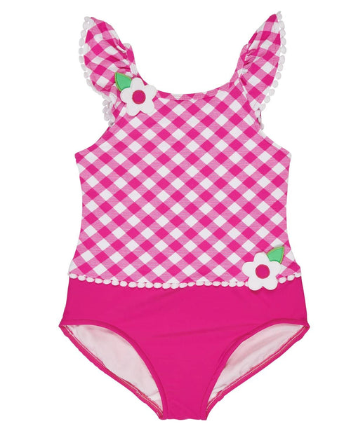 Fuchsia Check Swimsuit with Shoulder Ruffles - Florence Eiseman