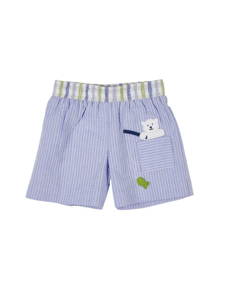 Boys Lime Stripe Seersucker Shortall with Frog