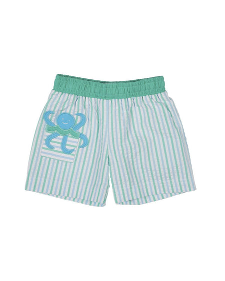 Seersucker Swim Trunk with Appliqued Fishing Bear