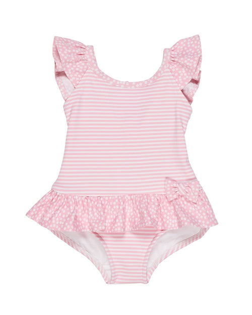Pastel Pink Stripe Swimsuit with Shoulder Ruffles - Florence Eiseman