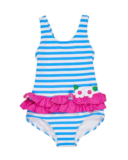 Pastel Pink Stripe Swimsuit with Shoulder Ruffles
