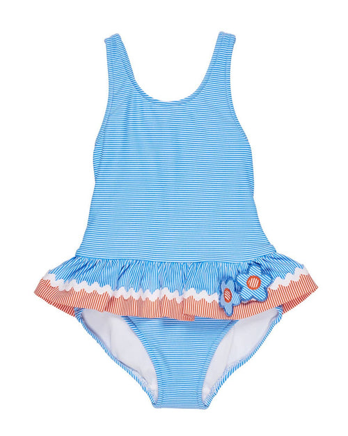 Blue and Orange Swimsuit with Appliqued Flowers - Florence Eiseman